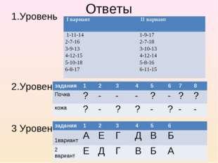 Ответы 1.Уровень 2.Уровень 3 Уровень * I вариант  II вариант 1-11-14 2-7-16