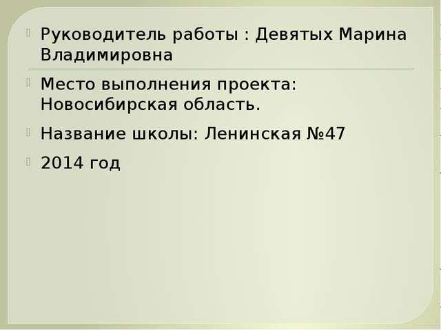 Руководитель работы : Девятых Марина Владимировна Место выполнения проекта: Н...