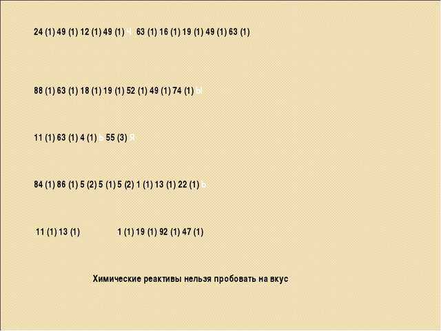 24 (1) 49 (1) 12 (1) 49 (1) Ч 63 (1) 16 (1) 19 (1) 49 (1) 63 (1) 88 (1) 63 (1...