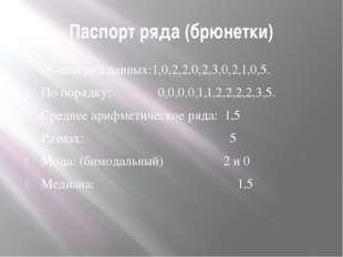 Паспорт ряда (брюнетки) Общий ряд данных:1,0,2,2,0,2,3,0,2,1,0,5. По порядку: