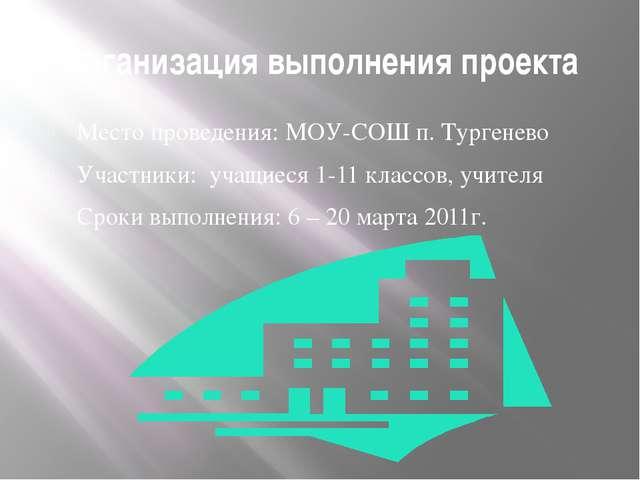 Организация выполнения проекта Место проведения: МОУ-СОШ п. Тургенево Участни...