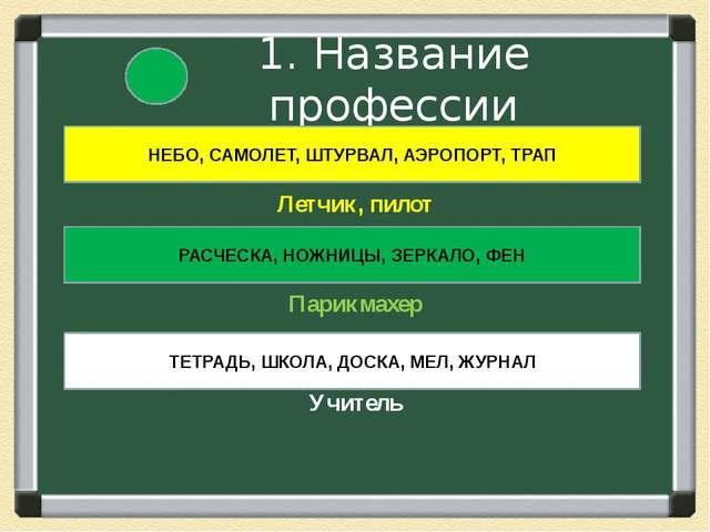 1. Название профессии Летчик, пилот Парикмахер Учитель НЕБО, САМОЛЕТ, ШТУРВА...