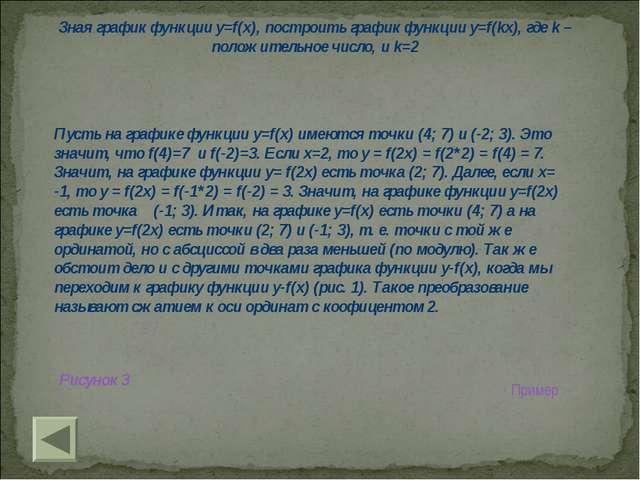 Зная график функции y=f(x), построить график функции y=f(kx), где k – положит...