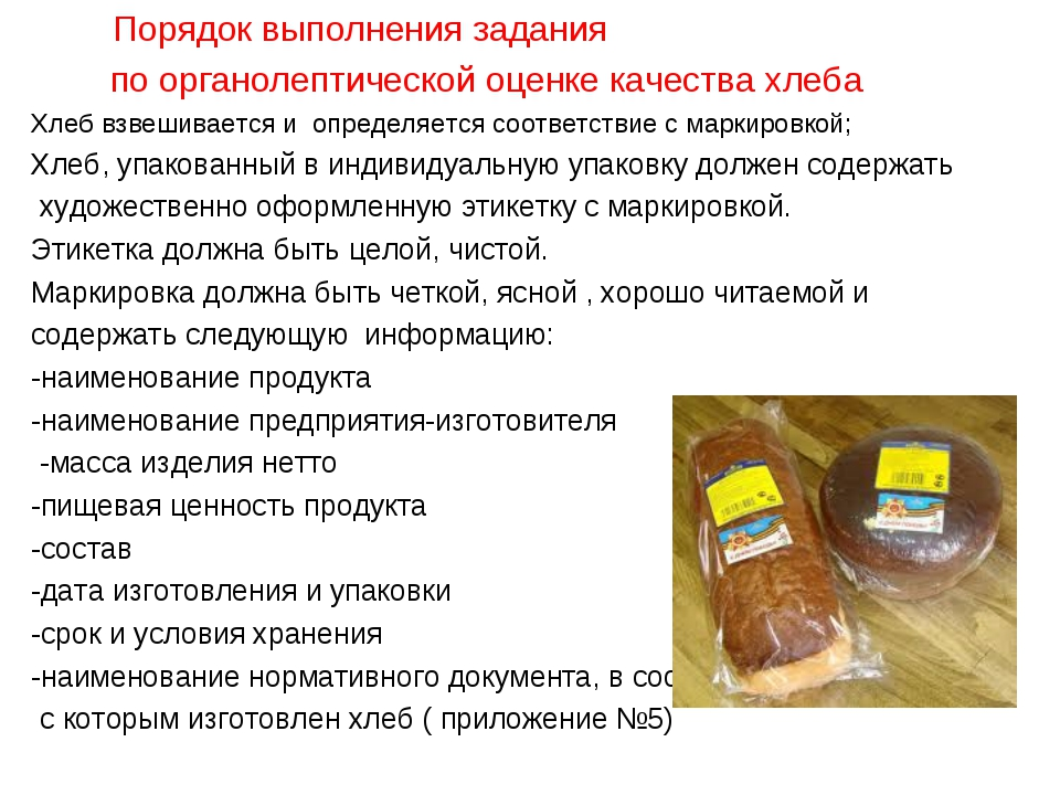 Порядок выполнения задания по органолептической оценке качества хлеба Хлеб в...