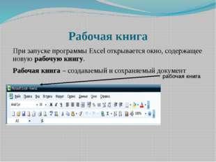 Рабочая книга При запуске программы Excel открывается окно, содержащее новую
