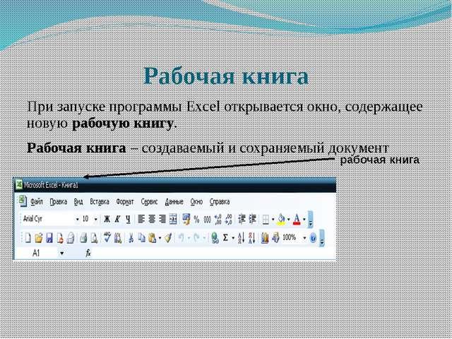 Рабочая книга При запуске программы Excel открывается окно, содержащее новую...