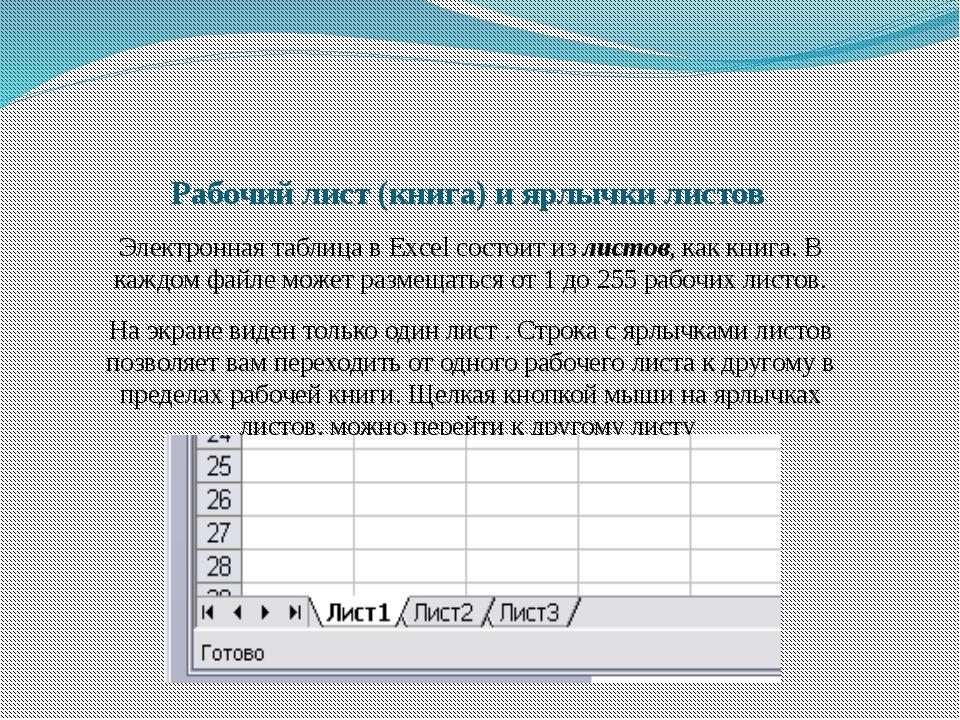 Рабочий лист (книга) и ярлычки листов Электронная таблица в Excel состоит из...