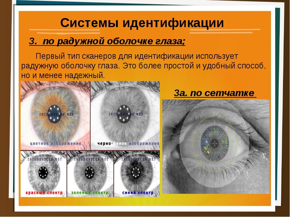 Системы идентификации 3. по радужной оболочке глаза; Первый тип сканеров для...