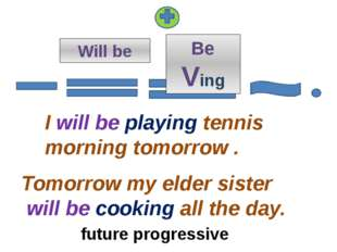 Will be I will be playing tennis morning tomorrow . Tomorrow my elder sister