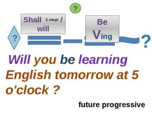 ? Shall / will Will you be learning English tomorrow at 5 o'clock ? ? ? 1 лиц