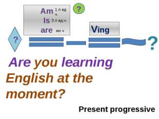 ? Am Is are Ving Are you learning English at the moment? ? ? Present progress