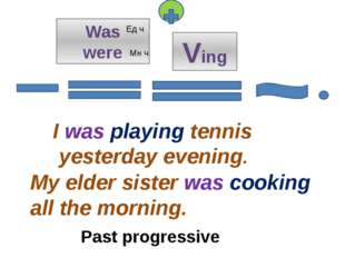 Was were I was playing tennis yesterday evening. My elder sister was cooking