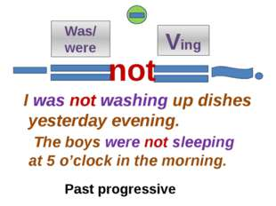 Was/ were Ving I was not washing up dishes yesterday evening. The boys were