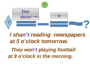 ? Do/ does V I shan't reading newspapers at 5 o'clock tomorrow. They won't pl