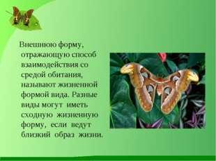 Внешнюю форму, отражающую способ взаимодействия со средой обитания, называют