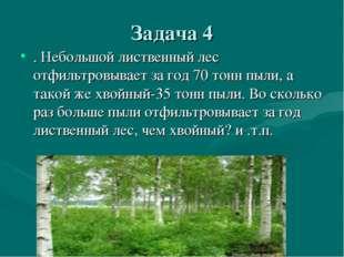 Задача 4 . Небольшой лиственный лес отфильтровывает за год 70 тонн пыли, а та