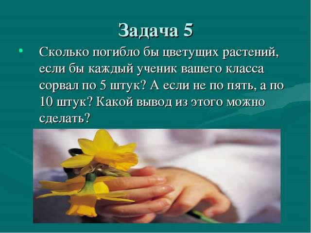 Задача 5 Сколько погибло бы цветущих растений, если бы каждый ученик вашего к...