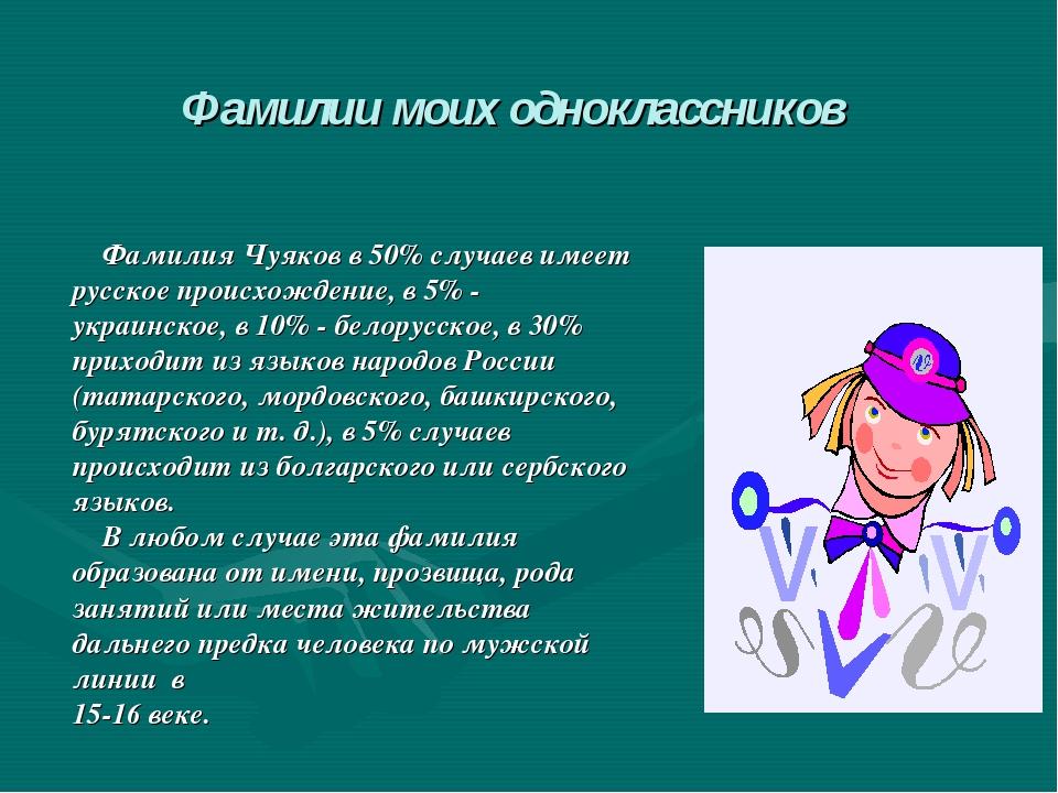Фамилия Чуяков в 50% случаев имеет русское происхождение, в 5% - украинское,...