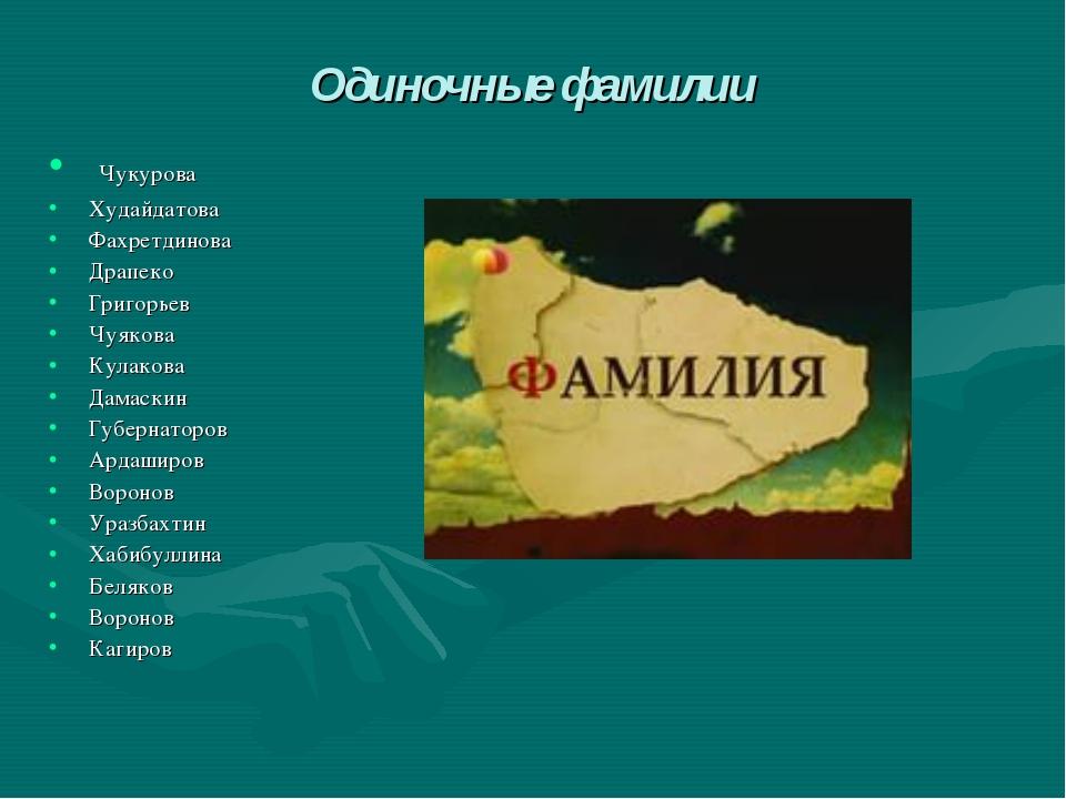 Одиночные фамилии Чукурова Худайдатова Фахретдинова Драпеко Григорьев Чуякова...