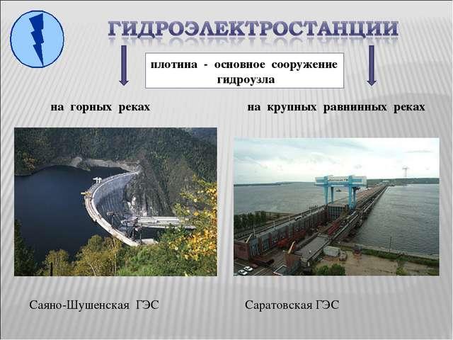 на горных реках Саяно-Шушенская ГЭС на крупных равнинных реках Саратовская ГЭ...