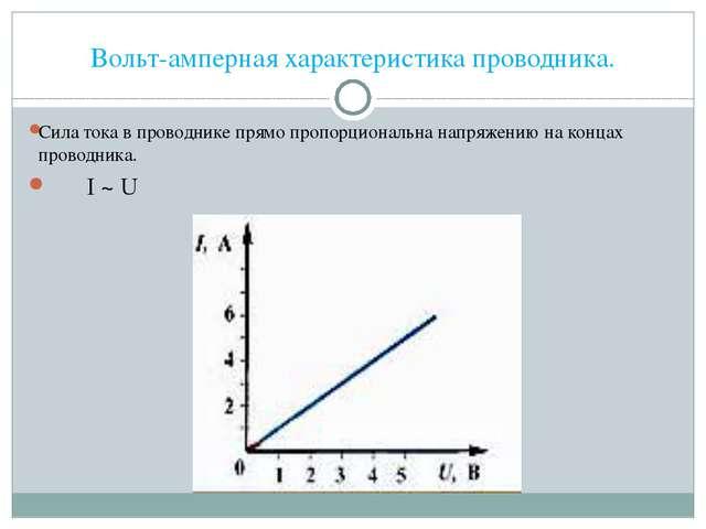 Вольт-амперная характеристика проводника. Сила тока в проводнике прямо пропор...
