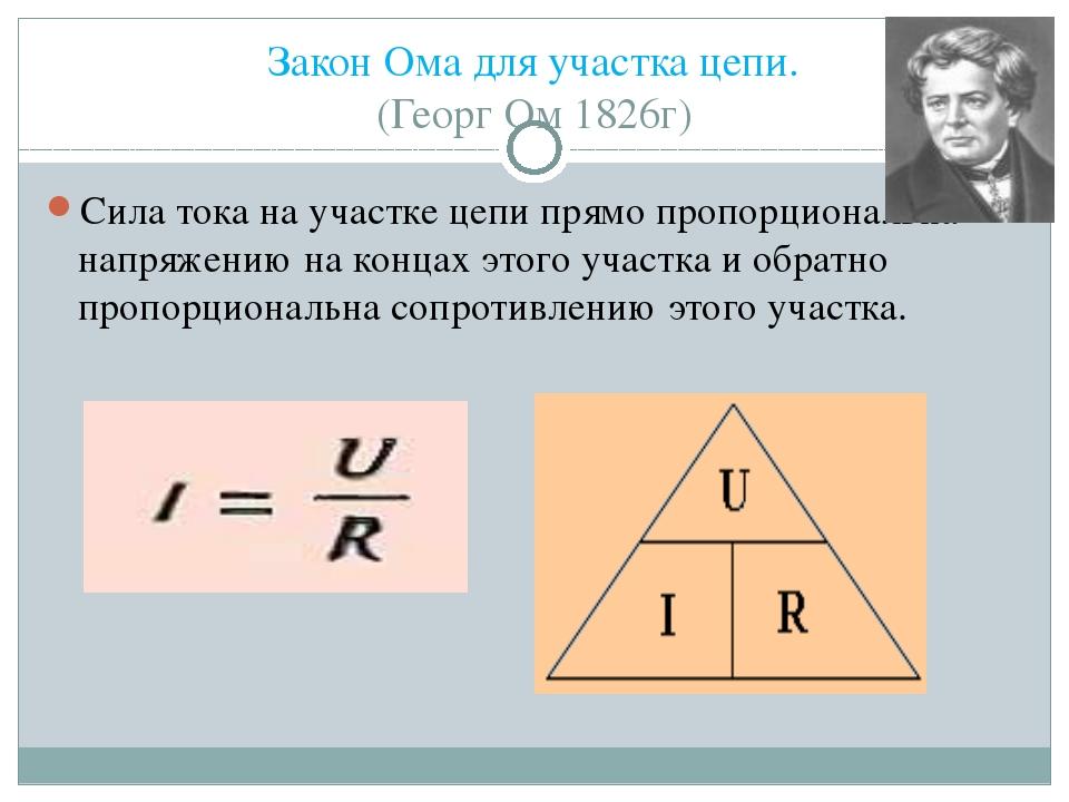 Закон Ома для участка цепи. (Георг Ом 1826г) Сила тока на участке цепи прямо...