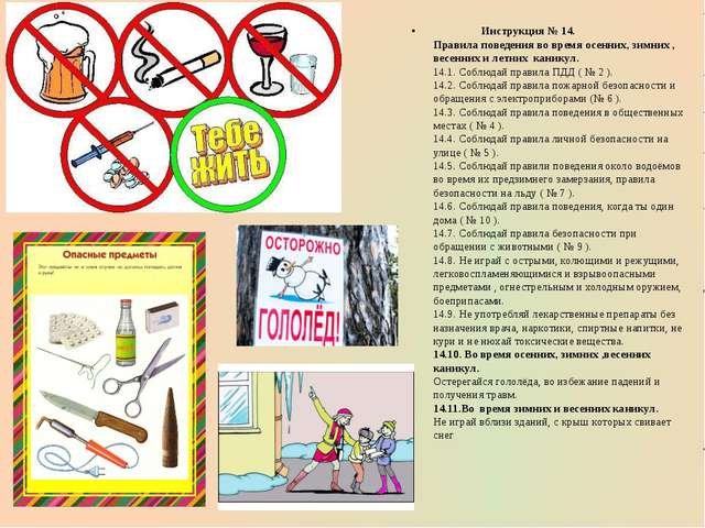 Инструкция № 14. Правила поведения во время осенних, зимних , весенних и лет...