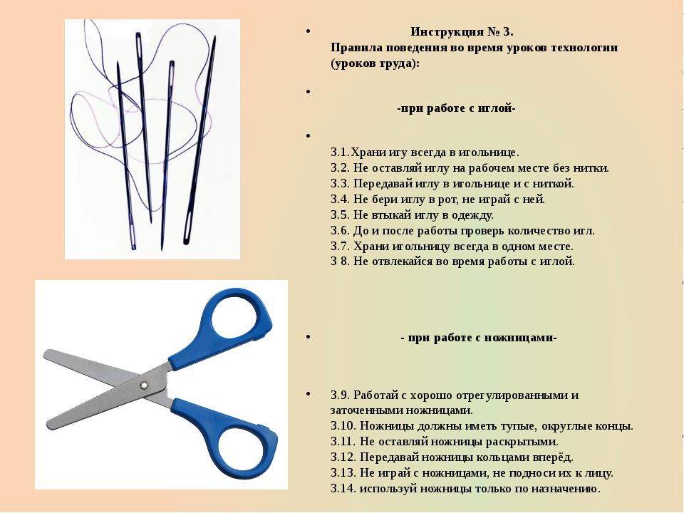 Инструкция № 3. Правила поведения во время уроков технологии (уроков труда):...