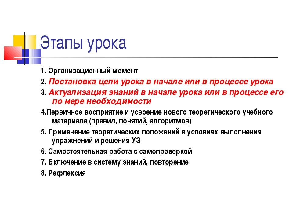 Этапы урока 1. Организационный момент 2. Постановка цели урока в начале или в...