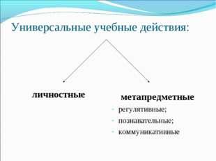Универсальные учебные действия: личностные метапредметные регулятивные; позна