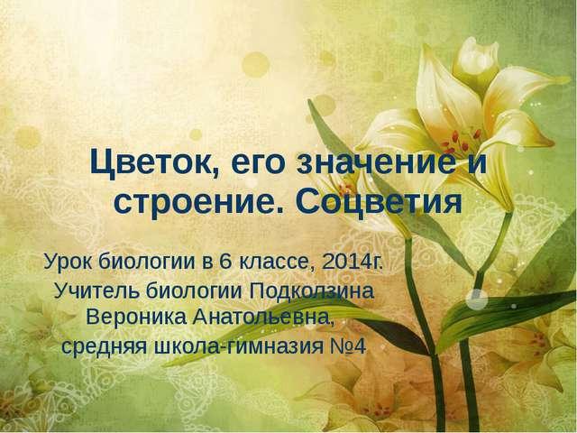 Цветок, его значение и строение. Соцветия Урок биологии в 6 классе, 2014г. Уч...
