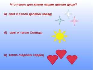 Что нужно для жизни нашим цветам души? а) свет и тепло далёких звезд; б) свет