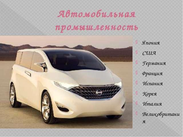 Автомобильная промышленность Япония США Германия Франция Испания Корея Италия...
