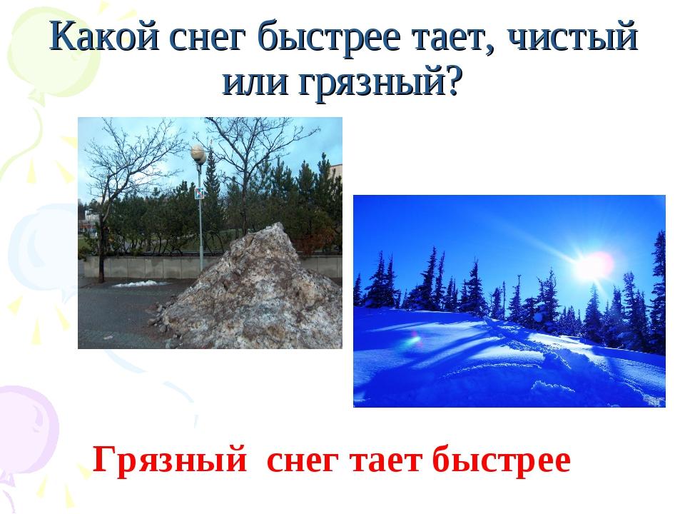 Какой снег быстрее тает, чистый или грязный? Грязный снег тает быстрее