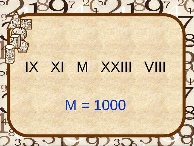 IX XI M XXIII VIII M = 1000