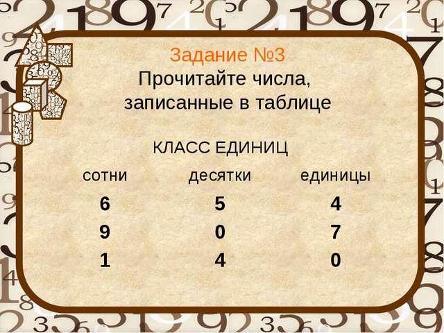 Задание №3 Прочитайте числа, записанные в таблице