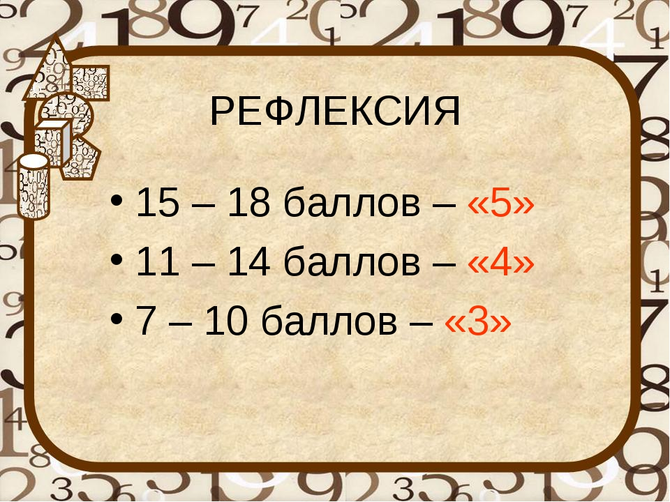 РЕФЛЕКСИЯ 15 – 18 баллов – «5» 11 – 14 баллов – «4» 7 – 10 баллов – «3»