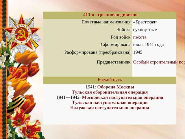 413-я стрелковая дивизия Почётные наименования:«Брестская» Войска:сухопут...