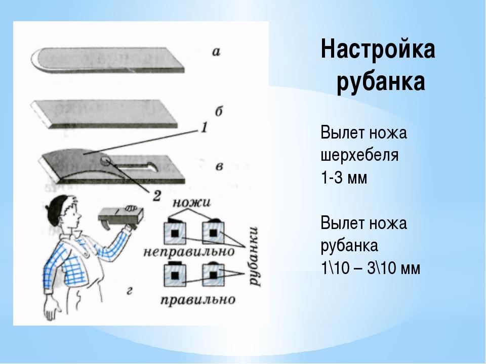 Настройка рубанка Вылет ножа шерхебеля 1-3 мм Вылет ножа рубанка 1\10 – 3\10 мм