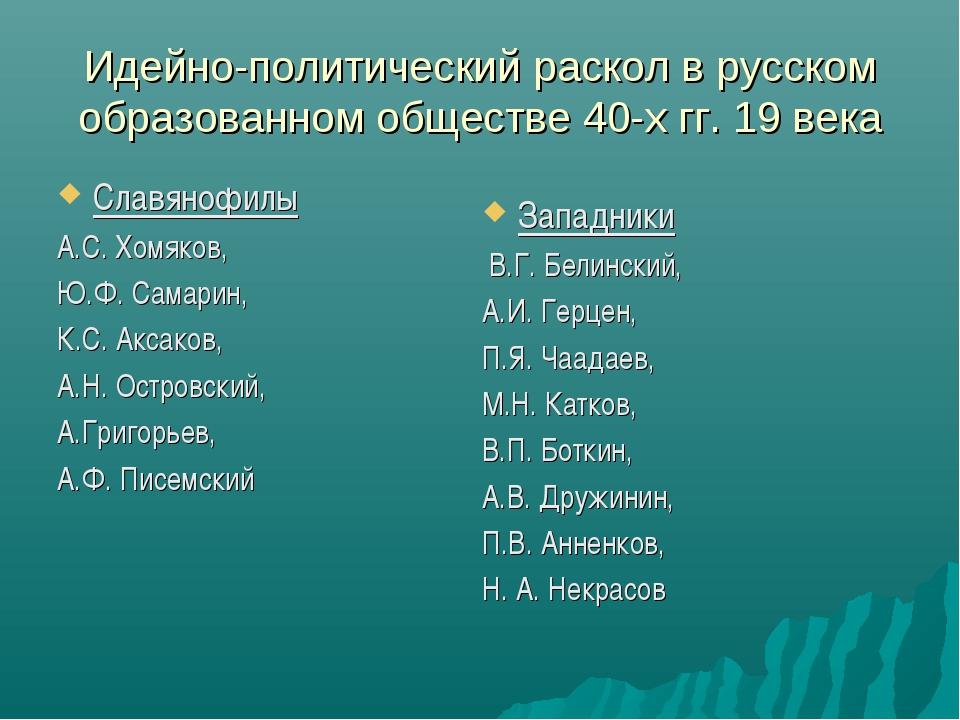 Идейно-политический раскол в русском образованном обществе 40-х гг. 19 века С...