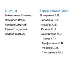 3 группа 4 группа (родители) Байзигитова Ильгиза Повираева В.П. Повираев Иго