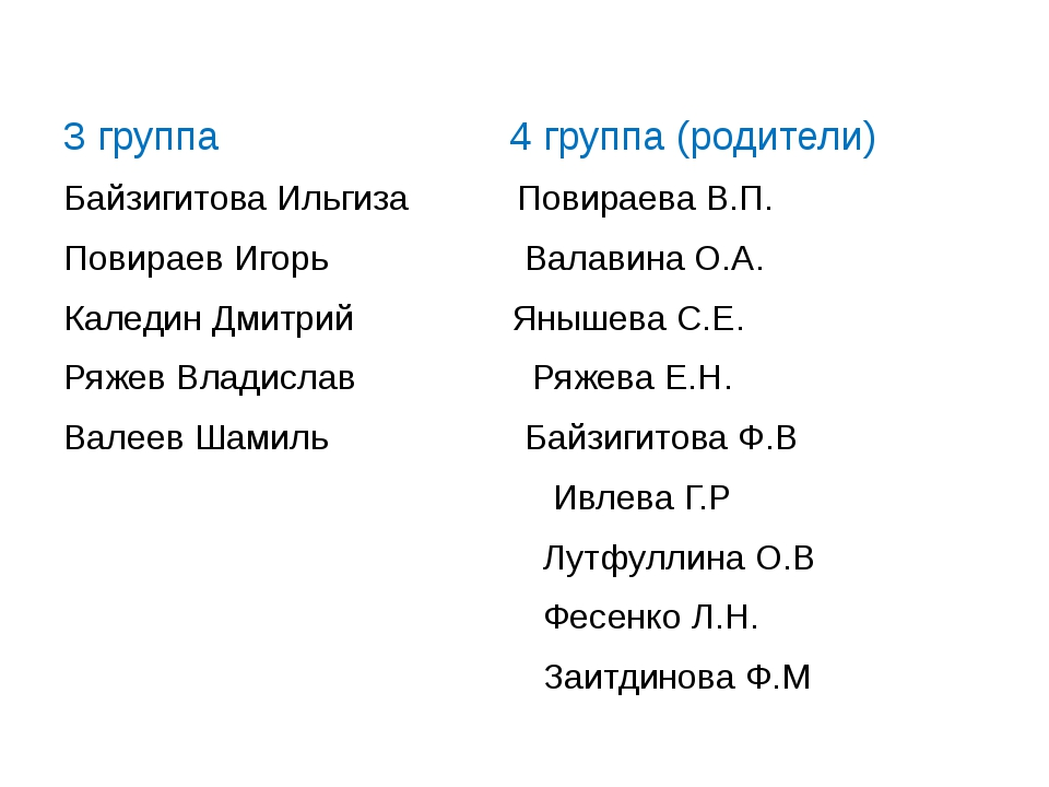 3 группа 4 группа (родители) Байзигитова Ильгиза Повираева В.П. Повираев Иго...