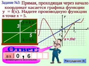 Производная функции в точке х = 5 – это производная в точке касания хо, а она
