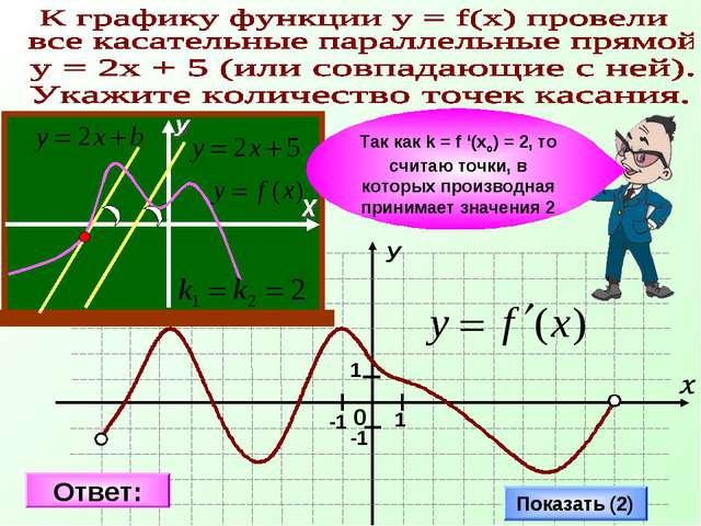 Показать (2) Так как k = f '(xo) = 2, то считаю точки, в которых производная...