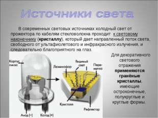 Для декоративного светового отражения применяются гранёные кристаллы, имеющи