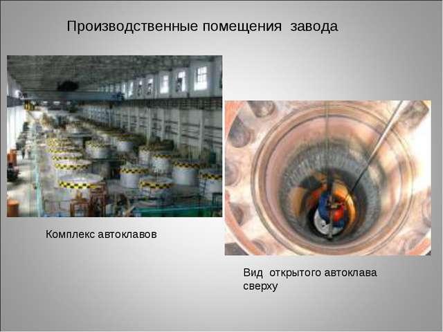 Вид открытого автоклава сверху Комплекс автоклавов Производственные помещения...