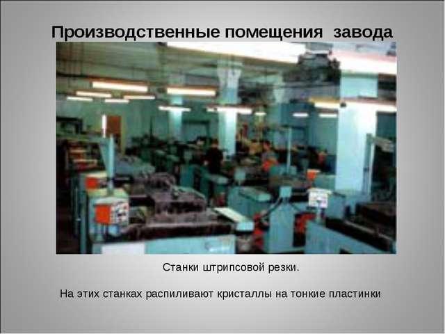 Производственные помещения завода Станки штрипсовой резки. На этих станках ра...