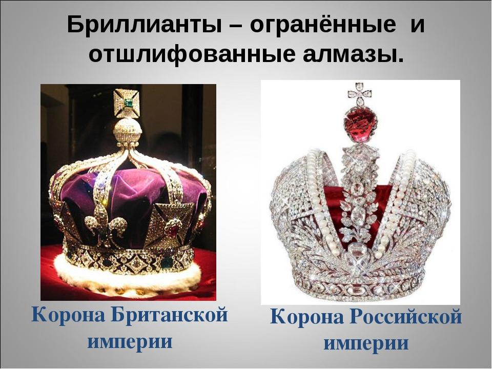 Бриллианты – огранённые и отшлифованные алмазы. Корона Британской империи Кор...
