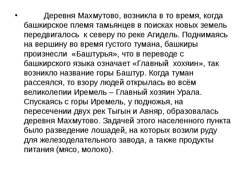 Деревня Махмутово, возникла в то время, когда башкирское племя тамь...
