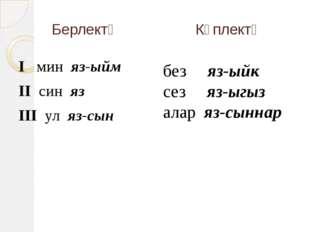 Берлектә Күплектә I мин яз-ыйм II син яз III ул яз-сын без яз-ыйк сез яз-ыгыз